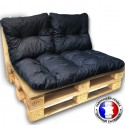 KIT COUSSINS PALETTE OUTDOOR anthracite 1 assise+2 dossiers 120*80 cm