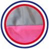 Détail coussin de chien imperméable taupe fuschia 105x60