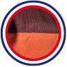 Détail coussin chien extérieur orange et ambre 105x60