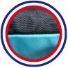 Coussin de chien reversible noir bleu turquoise lavable fabrication française