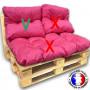 Choix B* - Coussin dossier imperméable rose 60x55 cm pour kit palette