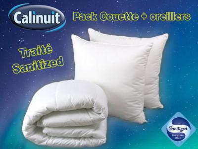 Couette avec oreillers traité anti-acariens et anti bact